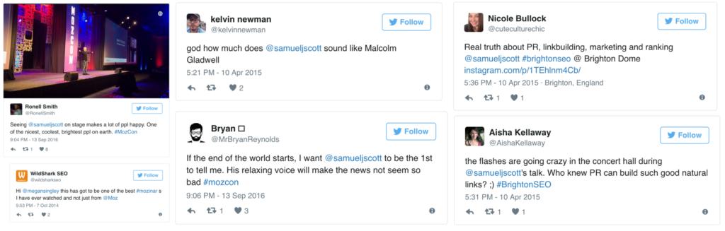 testimonials on marketing speaker samuel scott
